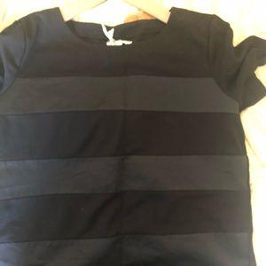 Madewell black on black stripe top sz medium